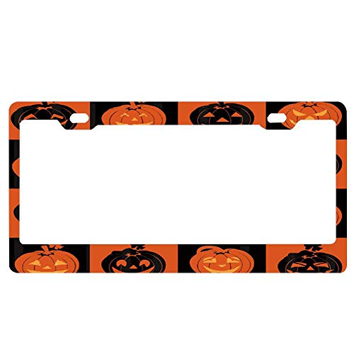 ABLnewitemFrameFF Pumpkins with Expression for Halloween License Plate Novelty Auto Car Tag Aluminum License Plate Cover .(12x6) -