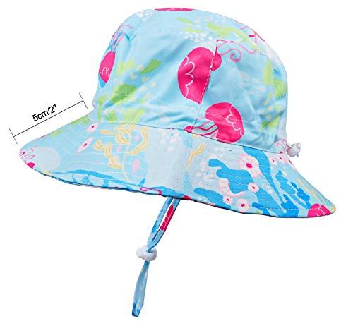 Baby Sun Hat Toddler Kids UPF 50+ UV Ray Sun Protection Wide Brim Bucket Swimwear Animal Hat (6-12 Months, Blue Jellyfish)