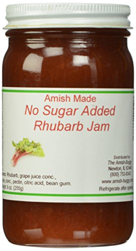 Amish Buggy No Sugar Added Jam, Rhubarb, 9 Ounce (Pack of 12)