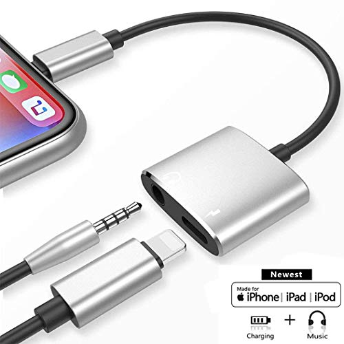 - Headphone jack Adapter for iPhone Dongle Aux Audio Cable to 3.5mm Splitter 2 in 1 Accessories for Charging and Music Car Accessories Compatible for iPhone XS/MAX/XR/X/8/8Plus/7/7Plus Support all iOS