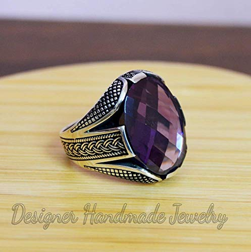 Mens biker ring, gemstone silver men ring, men ring, amethyst ring, gift for him, 925 sterling silver ring, statement ring, father
