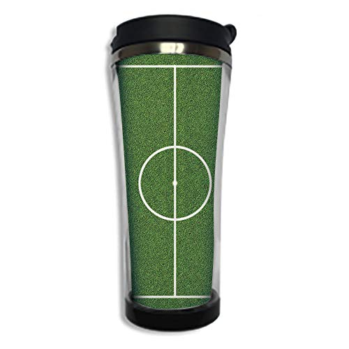 Travel Coffee Mug 3D Printed Portable Vacuum Cup,Insulated Tea Cup Water Bottle Tumblers for Drinking with Lid 14.2oz(420 ml)by,Teen Room Decor,Soccer Field Grass Motif Stadium Game Match Winner Sport