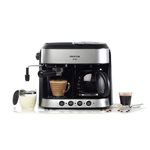 PRIXTON Bari – Cafetera Doble/Cafeteras Express 3 en 1: Espresso, Americano y Cappuccino, 15 bares de Presión, Potencia…