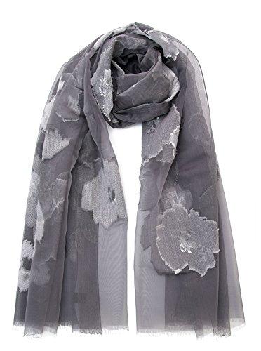 Elizabetta Italian Silk Fil Coupè Evening Formal Shawl Wrap Scarf, Mist - Mist Coupe