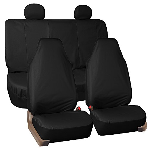 FH GROUP FH-FB113114 Full Set Rugged OxfordWaterproof Car Seat Covers - Black Fit Most Car, Truck, Suv, or Van (Work Rugged Roll Seat)