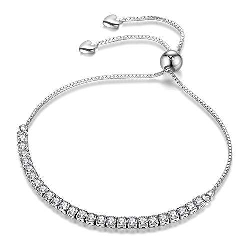 (J.Fée Silver Adjustable Bracelet Tennis Bracelet Silver Plated Bracelet 5A Zircon Birthday Anniversary Gift Valentine's Day for Women Girl (5 a - Heart & box))
