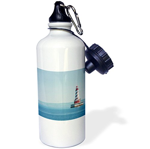 3dRose wb_190215_1 USA, Michigan, Great Lakes, Lake Michigan, White Shoal Lighthouse. - Sports Water Bottle, 21oz by 3dRose