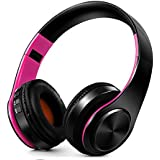 FARVOICE Bluetooth Headphones On Ear Noise Cancelling Stereo Wireless Headset Wireless Headphone Headset with Microphone for PC/Cell Phones/TV (Rose-Black)