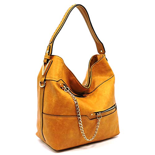 3 Hobo 5 Compartment amp; Le Zipper Accented Chain Wallet Colors Mustard w Miel Strap xTfwaSaqX
