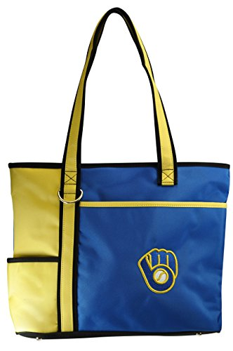 Charm14 MLB Milwaukee Brewers Tote Bag with Embroidered Logo, 13