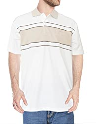 PL Fashion's Men's 100% Cotton Polo (offwhite, with cut and sow) - Beige, Small- Paris Style
