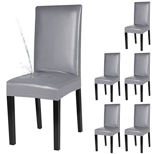 YISUN Dining Chair Covers, Solid Pu Leather Waterproof and Oilproof Stretch Dining Chair Protctor Cover Slipcover (Pure Grey, 6 Pack)