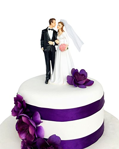 Wedding Cake Topper Funny & Romantic Groom And Bride holding hands with flowers Figurine | Toppers For Wedding Cakes Decoration | Hand Painted & Unique (Groom Cake Top)