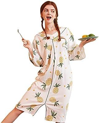 Camisones Pijamas Algodón, aderezo para el hogar, Hembra, Pijamas Delgados, de Gran tamaño, Ropa de Dormir Suelta Piña con Mangas largas Color Pijamas de una Pieza: Amazon.es: Hogar