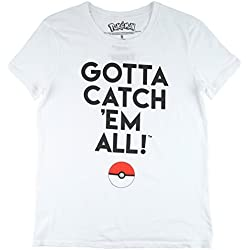 Pokemon Gotta Catch 'Em All Women's T-Shirt in White. S-XL.