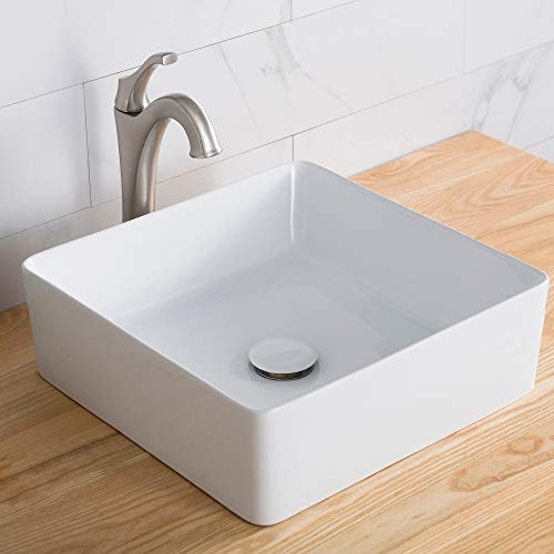 - Kraus KCV-202GWH Viva Bathroom Vessel Sink, White L x 15.55 W