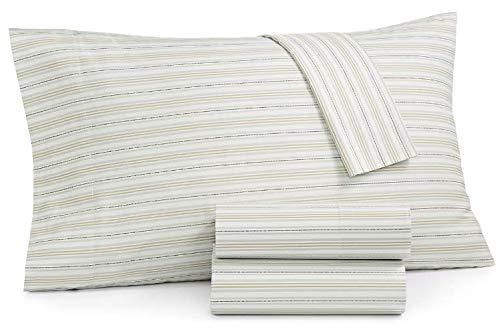 Martha Stewart Essentials Printed Dashed Stripe Grey 220 Thread Count 3-Pc. Twin Sheet Set ()