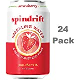 Spindrift Sparkling Water, Strawberry Flavored, Made with Real Squeezed Fruit, 12 Fluid Ounce Cans, Pack of 24 (Only 9 Calories per Can)