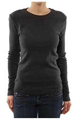 G2 Chic Women's Long Sleeve Crew Neck Shirt(TOP-CAS,BLK-M)