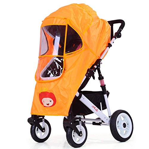 Universal Baby Stroller rain Cover Windshield Baby Carriage Umbrella Raincoat Cover Windshield Warm Cover Trolley Accessories (Orange Color)