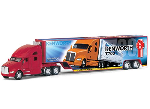 Set of 4: Kenworth T700 Semi Truck with Container Trailer 1:68 Scale