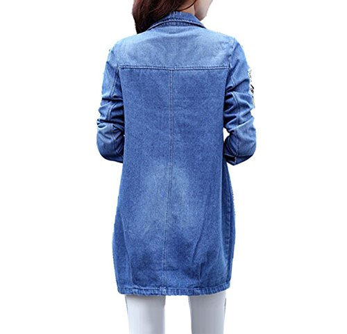 Cotton Women Denim 1 Casual Clothing Coats Kidly Long Loose Jeanss Jackets Sleeve wgBwZ