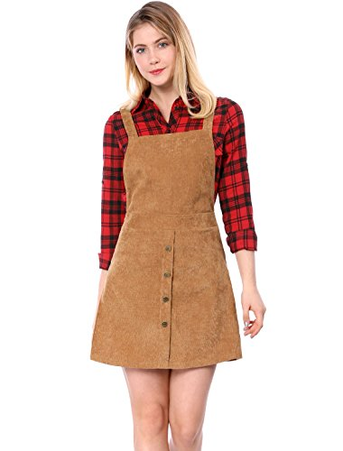 Allegra K Women's Corduroy Button Decor A Line Suspender Overall Skirt Dress M Brown (Corduroy Button)