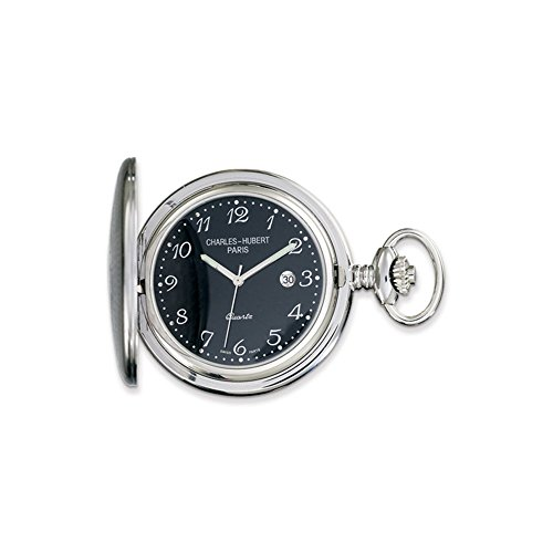 Charles Hubert Stainless Steel Black Dial Pocket Watch ()