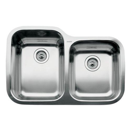 1.75 Medium Double Bowl - Blanco 510-888 Supreme 1 3/4 Double Bowl Undermount Kitchen Sink, Satin Polished Finish