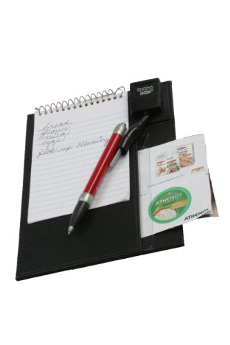 Pencil Pull Retractable Holder for Writing Instruments, Mounted On Hi Quality Faux-Leather, with 6 x 4 inches Spiral Notebook, Tug-N-Back Writer, No String Tension, Pockets for Coupons, NoteBoard, Colors Vary, 1 Holder (T200NB) by Pencil Pull
