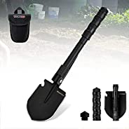 Folding Camping Shovels, Military Survival Shovel, Tactical Entrenching Multitool Collapsible Shovel with Cove