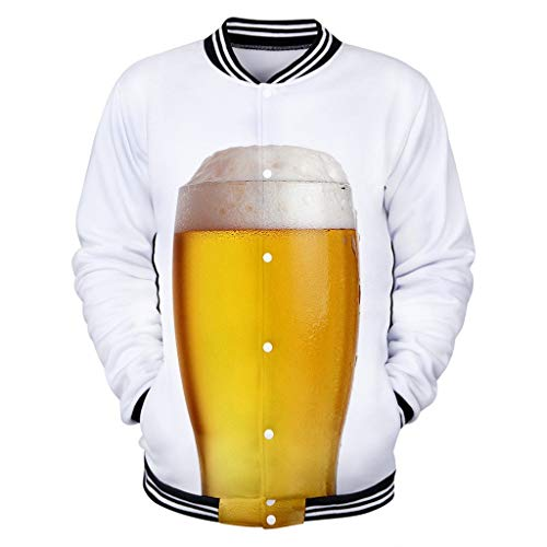 Men's Funny Sweatshirt Beer 3D Printed Cool Graphic Long Sleeves Button Coat Cool Tops Sport Shirt Blouse White