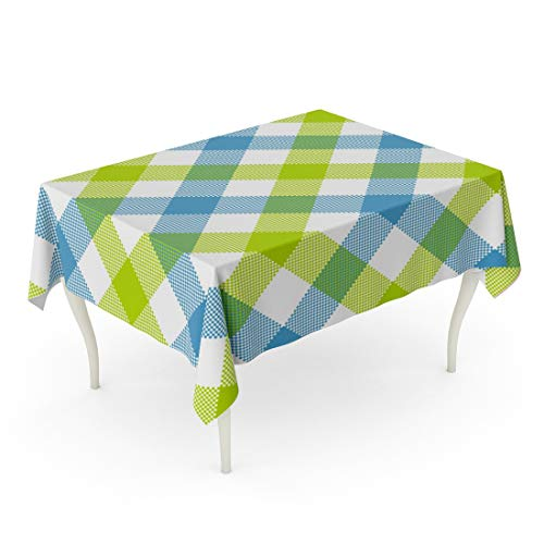 (Tarolo Rectangle Tablecloth 60 x 102 Inch Pattern Blue Green Diagonal Checkered Plaid Check Gingham Geometric Table Scottish Table Cloth )