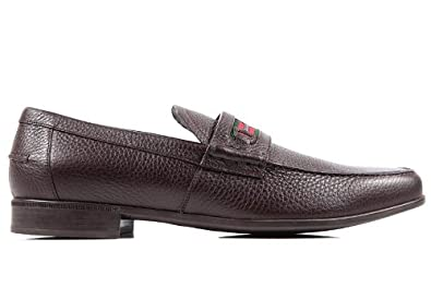 dd4b53e5a14 Gucci men s leather loafers moccasins road brown UK size 7.5 295786 AHM30  2156