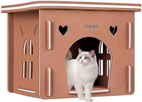 DEStar Indoor Outdoor Waterproof EVA 3D Jigsaw Puzzle Cat House Easy Set-up DIY Pet Kitty Shelter with Flat Roof