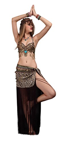 Dancer Tribal Belly Costumes (GUILTY BEAUTY Tribal Belly Dance Costume,Halter Bra Hip Scarf 2pcs,6)