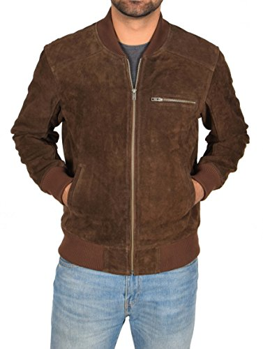 Mens Real BROWN Suede Bomber Jacket Leather Varsity Baseball Casual Coat - Roco (X-Large) (Jacket Suede Leather Varsity)