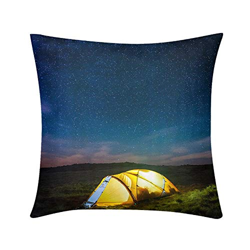 HooMore Custom Soft Wrinkle-Resistant Throw Pillow Stars Shining Over Warmly Glowing Tent Camping high on Mountain Design for Sofa Bedroom Office Car Decorate Pillow