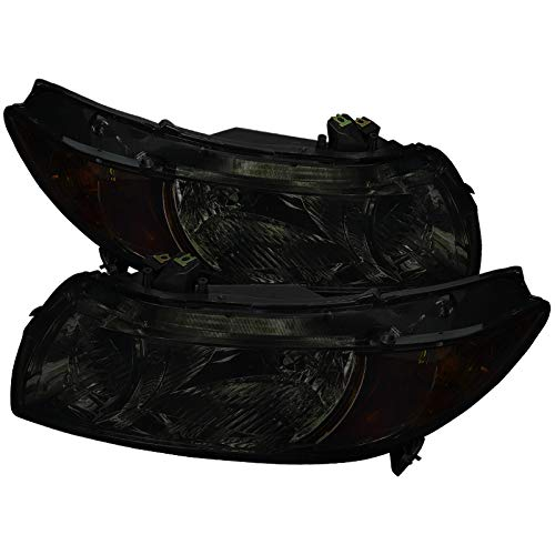 (Carpartsinnovate For 06-11 Honda Civic 2Dr Coupe Smoke Lens Headlights+Amber Signal Corner Lamps)