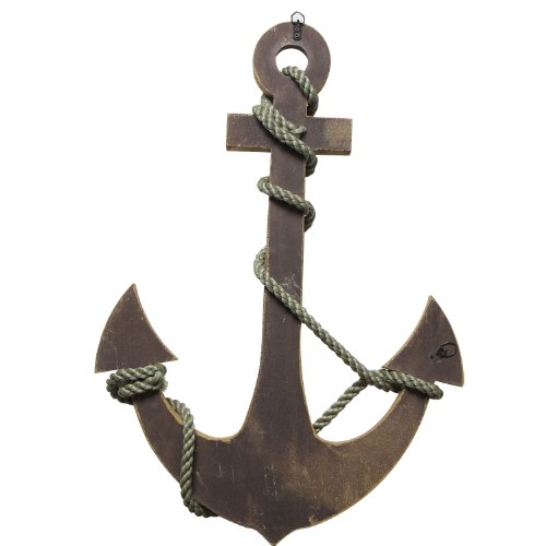 Adeco Wooden Boat Anchor with Crossbar, Steering Wheel, Wall Décor Home Décor (Wooden Boat Anchor with Crossbar)