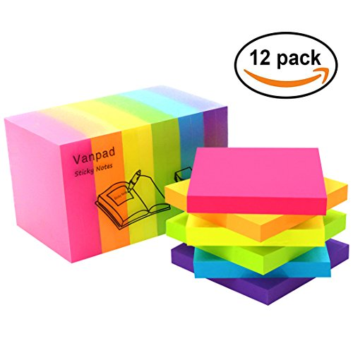 Vanpad Sticky Notes 3x3 Inches,100 Sheets/Pad,12 Pads/Pack,Bright Colors Self-Stick Pads 100 Sheet Pads