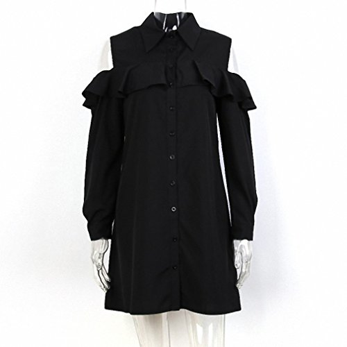 Vlent Sexy Off Shoulder Long Ruffles Sleeve Shirt Dress Plus Size Autumn Short Black Dresses 90s Girl Preppy Casual - 90s Preppy