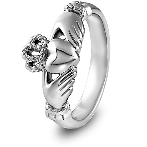 14K White Gold ULG-6334W Claddagh Ring - Size: 8