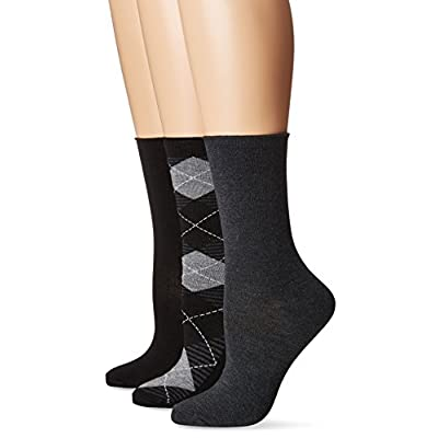 No nonsense Women's Jeans Sock, 3 Pair Pack, Argyle-Black, 4-10 at Women's Clothing store