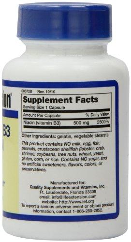 Life Extension Vitamin B3 Niacin  500 Mg Capsule, 100-Count