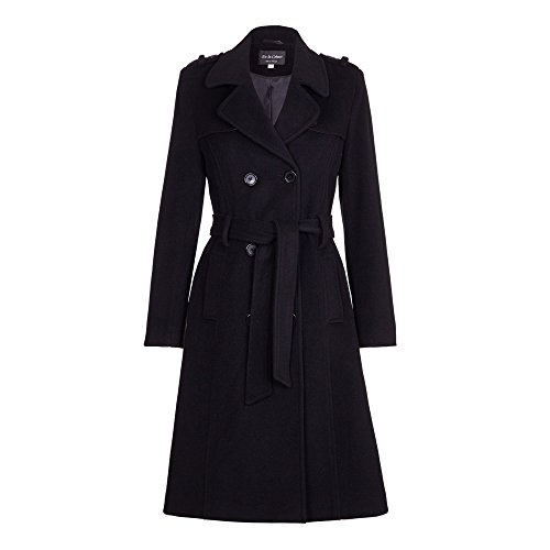 De la Crème - Womens Wool & Cashmere Belted Long Military Trench Coat, Black, Size 6 ()