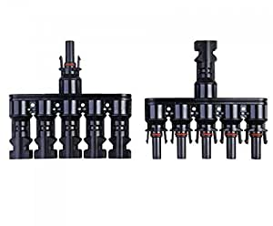 1 Pair MC4 F/MMMMM M/FFFFF male and female Branch Solar Panel Connector 1F5M and 1M5F1 Used for Solar Module Parallel ConnectionC