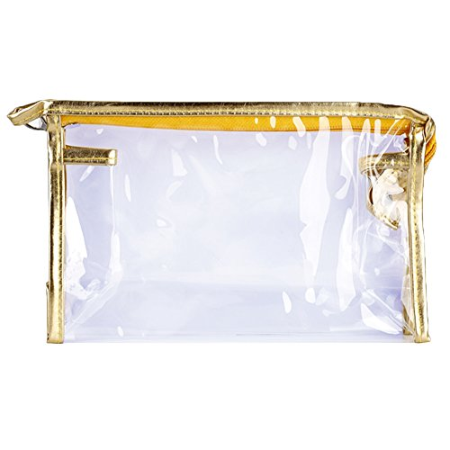Sealike Waterproof Clear Transparent PVC Cosmetic Organizer Bag for Travel with Stylus (Golden)