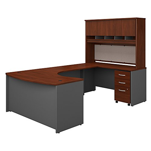 - Bush Business Furniture Series C 60W Right Handed Bow Front U Shaped Desk with Hutch and Storage in Hansen Cherry