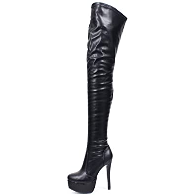 72dcba972d87b JiaLuoWei Women Over Knee Boots, 16cm High Heels Zipper Sexy Boots Fashion  Shoes